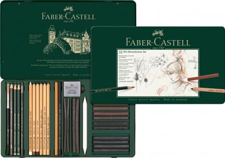 Set Pitt Monochrome Grafit+Carbune+Pastel 33 Buc Faber-Castell0