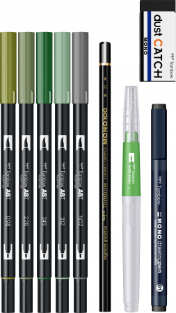 Set Watercoloring Greenery Tombow1
