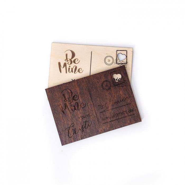 Carte Postala Lovers Personalizabila din Lemn [3]