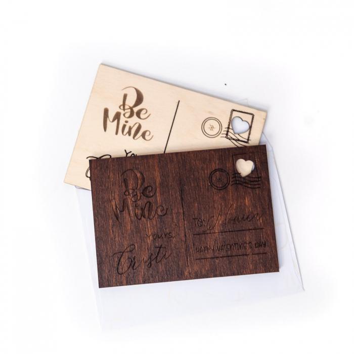 Carte Postala Lovers Personalizabila din Lemn [2]