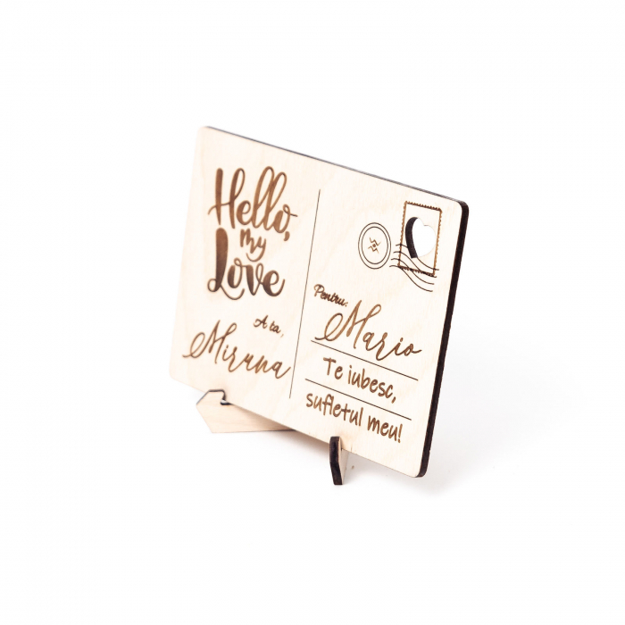 Carte Postala Lovers Personalizabila din Lemn [5]