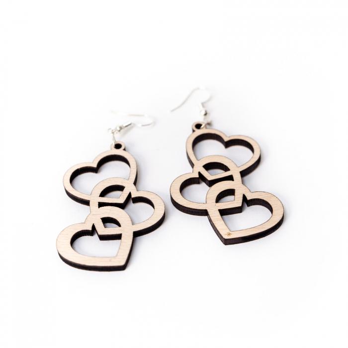 Cercei Chained Hearts din Lemn si Argint 925 [0]