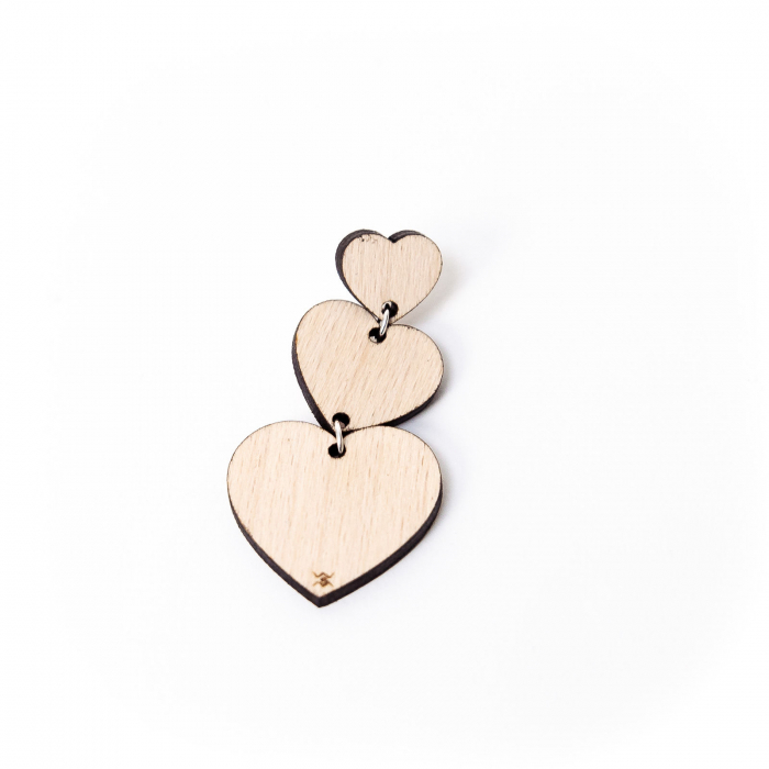 Cercei Heart Fall din Lemn si Argint 925 [4]