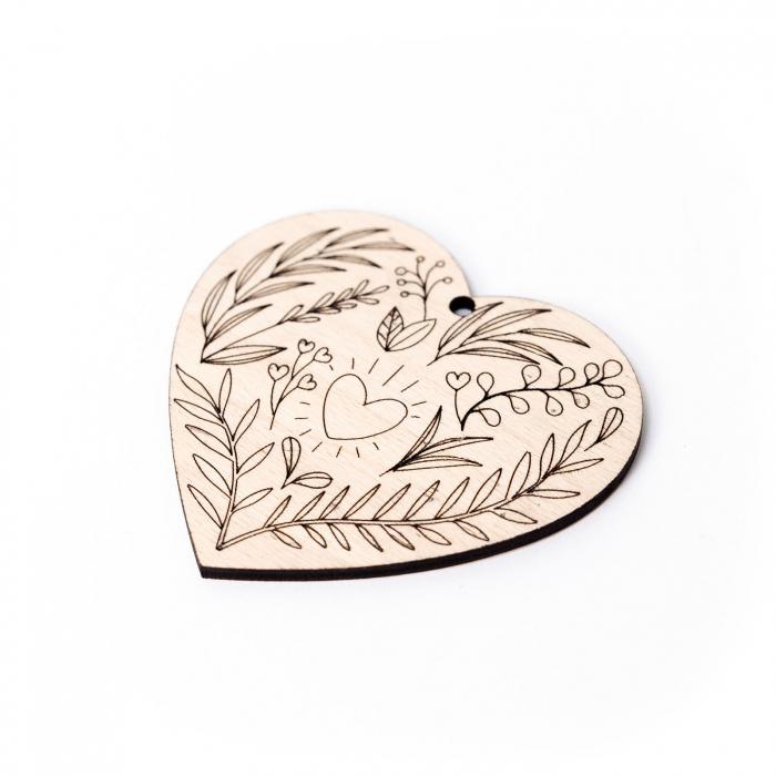 Decoratiune Inima Florala din Lemn [2]