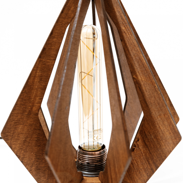 Lampa_Lemn_Diamant_lustra_decorativa_artizanala_ cu bec LED [1]