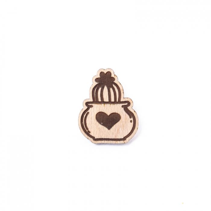 Martisor Cactus Heart din Lemn [1]