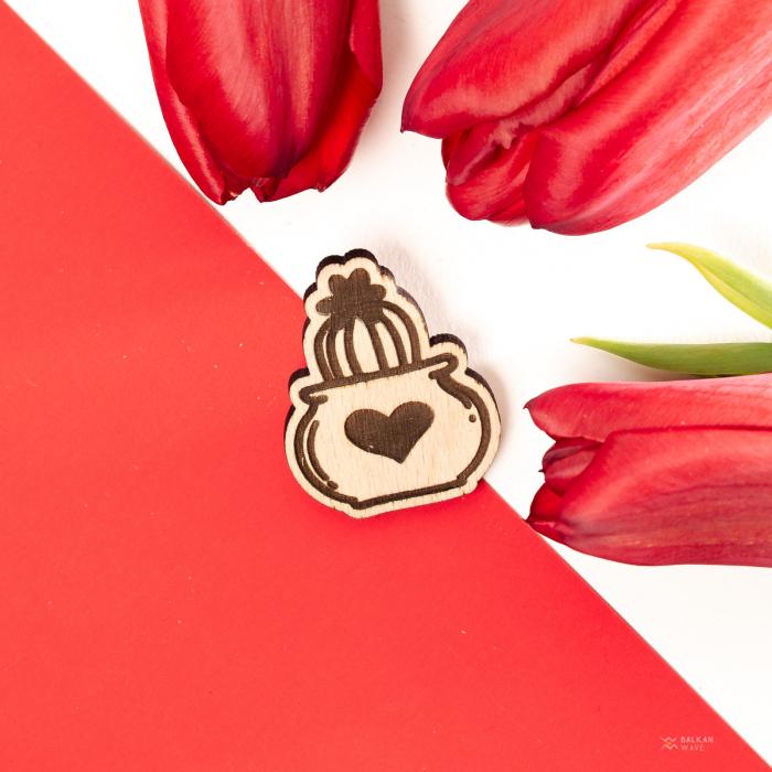 Martisor Cactus Heart din Lemn [2]