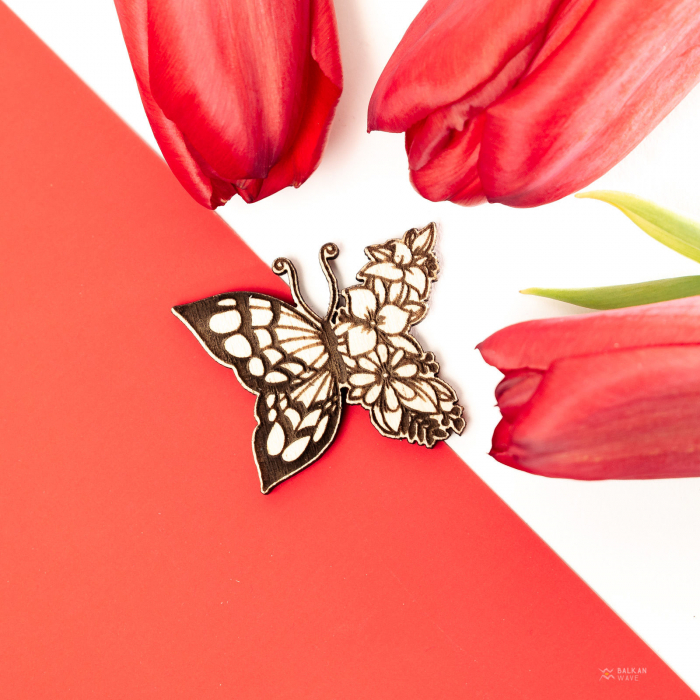 Martisor Fluture-Floare din Lemn [2]