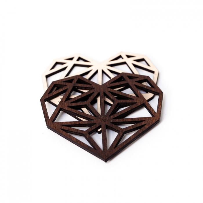 Suport de Pahar Inima Geometrica din Lemn [2]