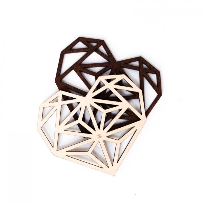 Suport de Pahar Inima Geometrica din Lemn [1]
