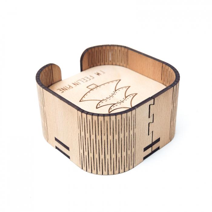 Suport Coaster de Pahar din Lemn cu mesaj de Craciun [2]