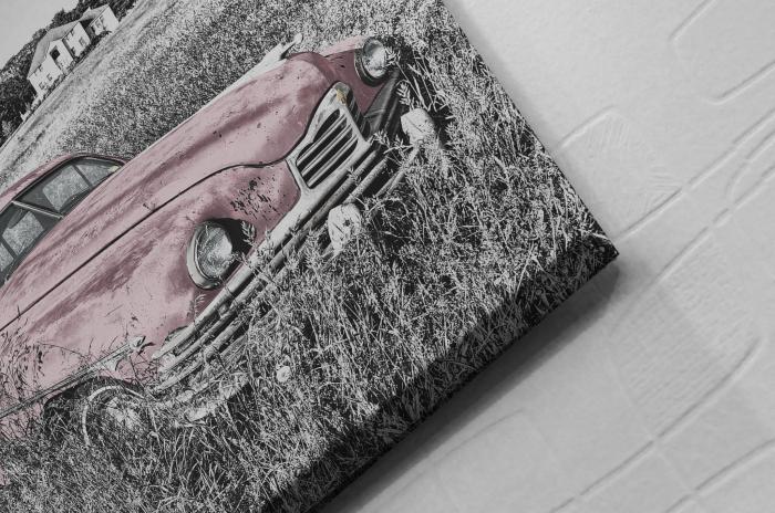 Tablou Canvas - Old car Pink [1]