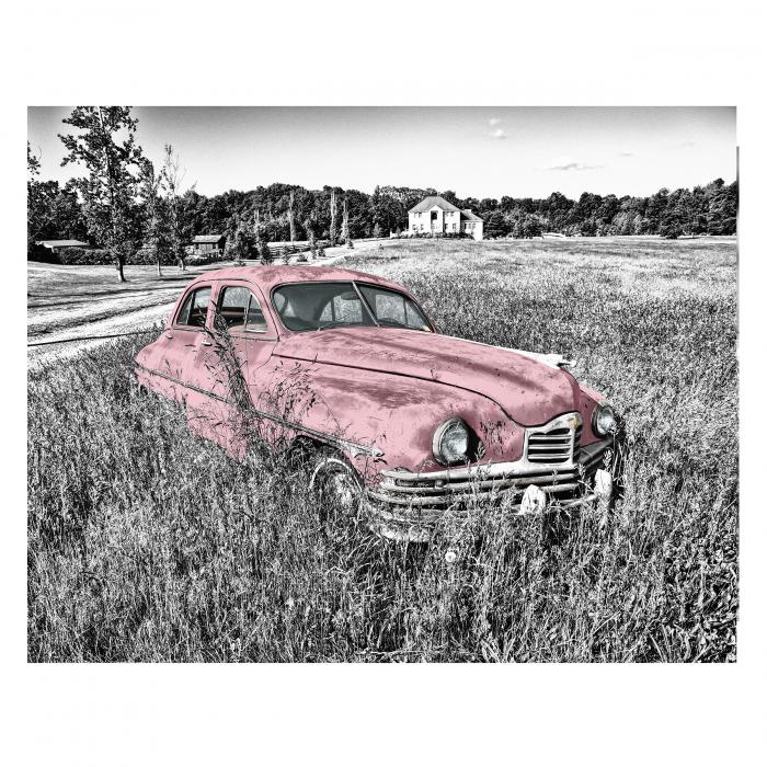Tablou Canvas - Old car Pink [0]