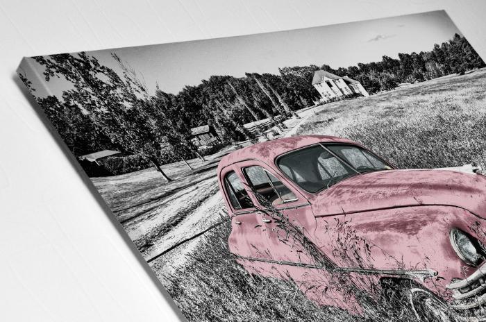 Tablou Canvas - Old car Pink [3]
