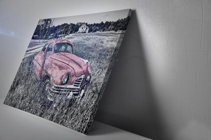 Tablou Canvas - Old car Pink [2]