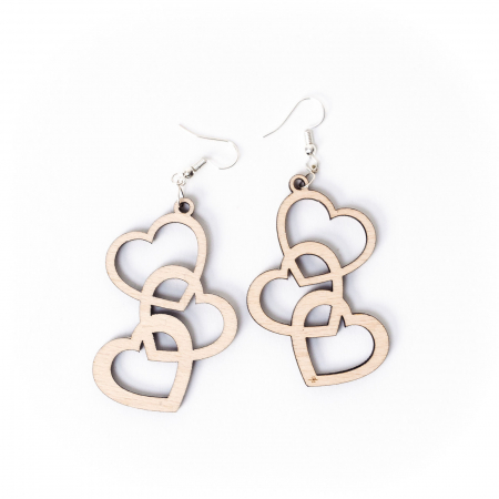 Cercei Chained Hearts din Lemn si Argint 925 [1]