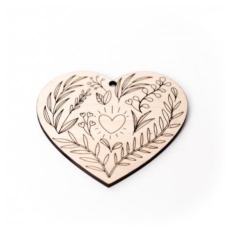 Decoratiune Inima Florala din Lemn [1]