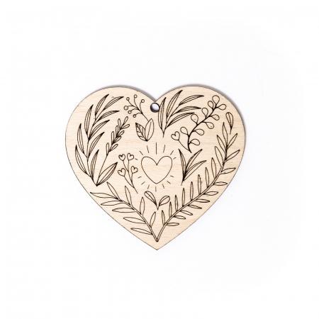 Decoratiune Inima Florala din Lemn [0]