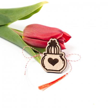 Martisor Cactus Heart din Lemn [0]