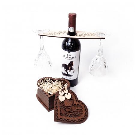 Set cutie inima cu cercei heart fall si suport floral pahare de vin [1]
