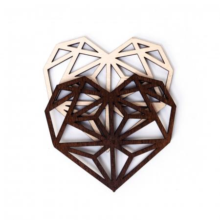 Suport de Pahar Inima Geometrica din Lemn [4]