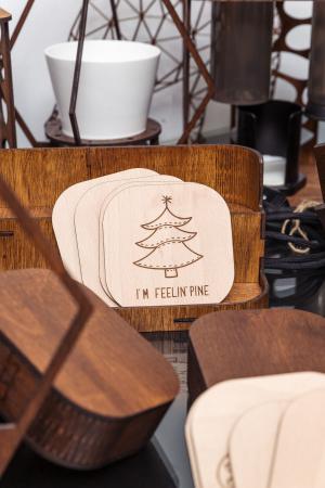Suport Coaster de Pahar din Lemn cu mesaj de Craciun [4]
