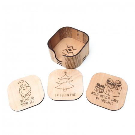 Suport Coaster de Pahar din Lemn cu mesaj de Craciun [1]