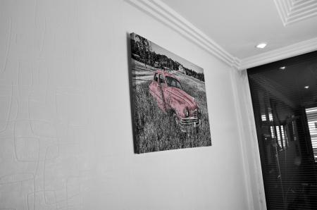 Tablou Canvas - Old car Pink [4]