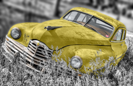 Tablou Canvas - Old car Yellow [0]