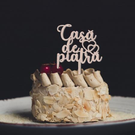 Topper de nunta pentru tort Casa de piatra din lemn [1]