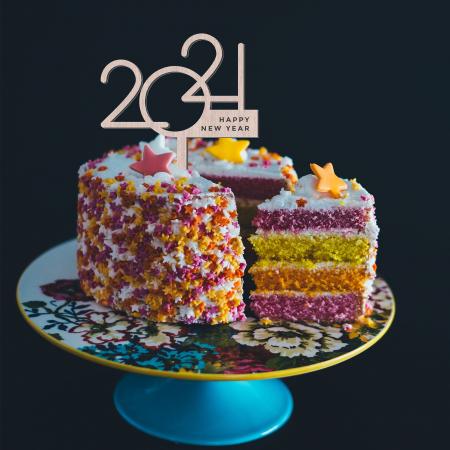 Topper pentru Tort 2021 Happy New Year din Lemn [1]