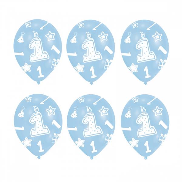 Set 6 Baloane Aniversare 1 an Albastru 27.5 cm 0013051380908 0
