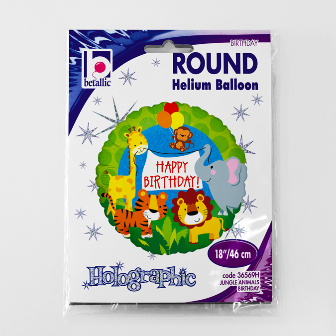 Balon folie animale jungla Happy Birthday 46 cm [1]