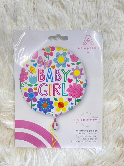 Balon folie Baby Girl floricele 43 cm 2