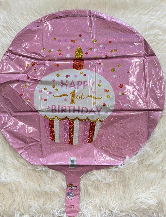 Balon folie briosa roz happy Birthday Prima aniversare 1 an 43cm 1