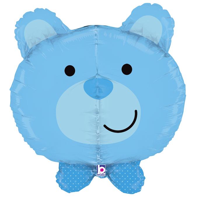 Balon folie cap urs albastru 3D 69 cm [0]