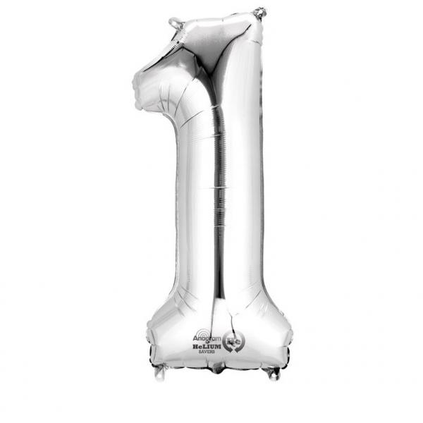 Balon folie cifra 1 argintiu 66cm [0]