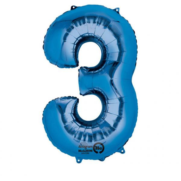 Balon folie cifra 3 albastru 66cm [0]