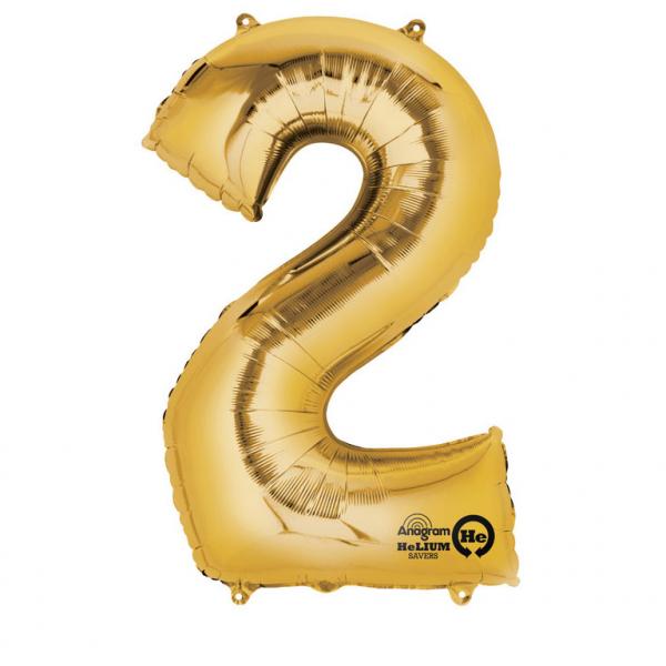 Balon folie cifra 2 auriu 66cm [0]