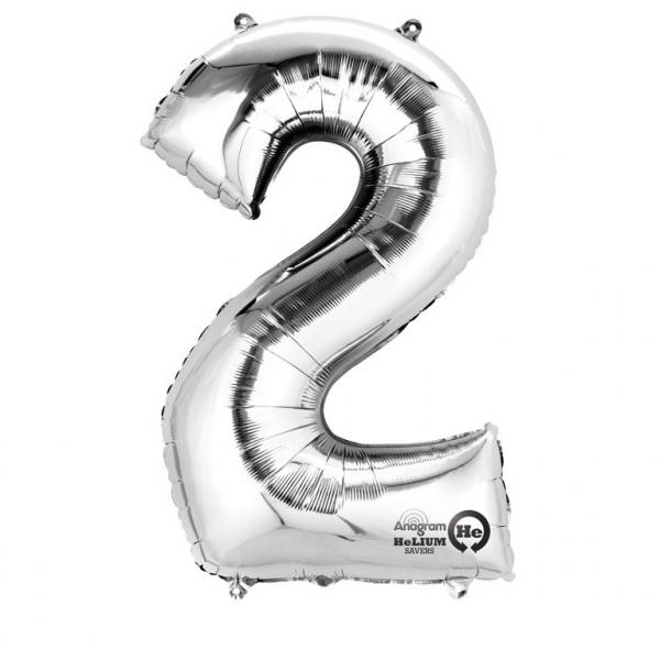 Balon folie cifra 2 argintiu 66cm [0]