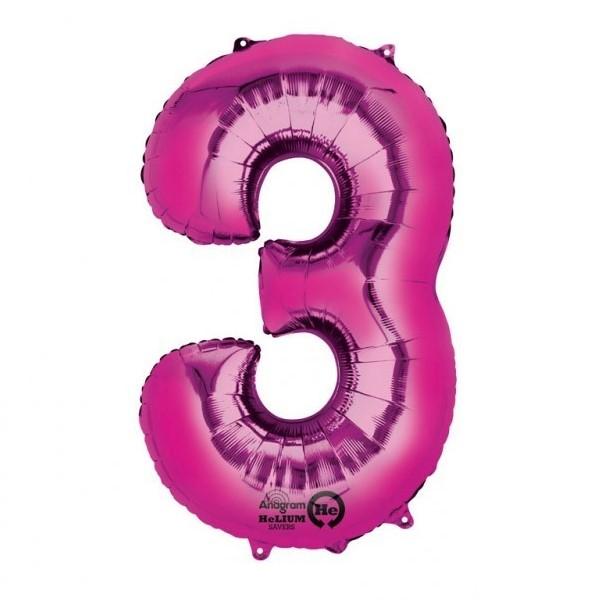 Balon folie cifra 3 roz 66cm 0