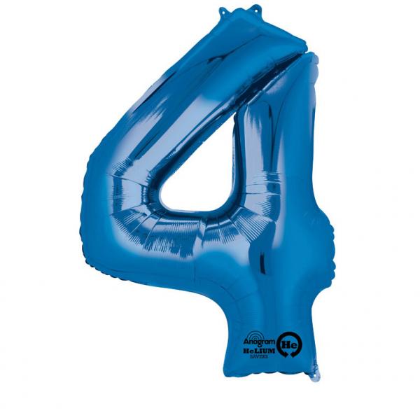 Balon folie cifra 4 albastru 66cm [0]