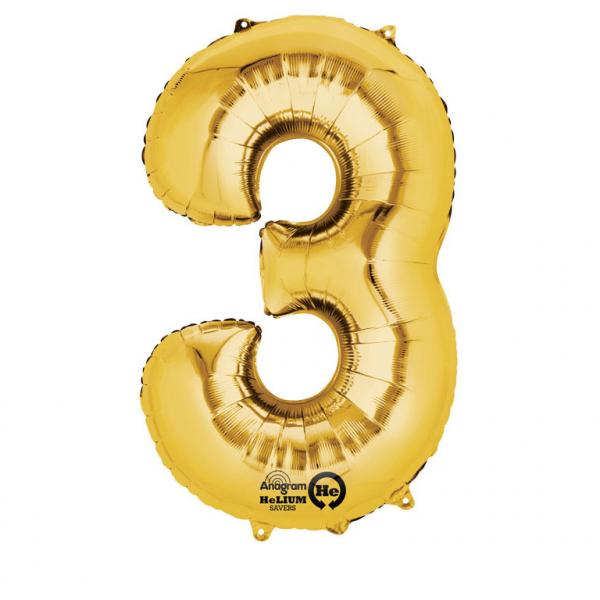 Balon folie cifra 3 auriu 66cm 0