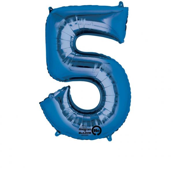 Balon folie cifra 5 albastru 87cm 0
