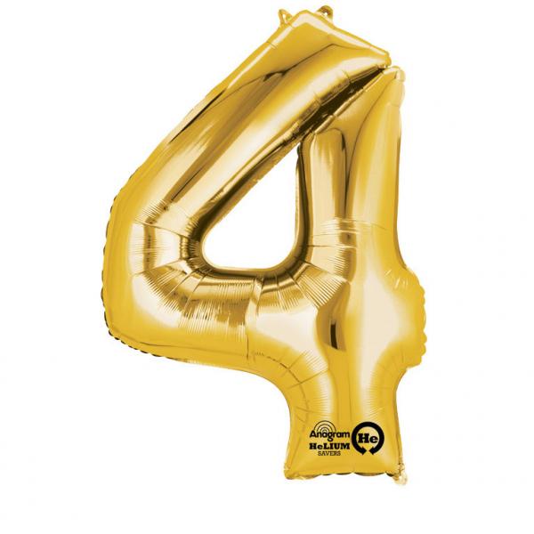 Balon folie cifra 4 auriu 87cm 0