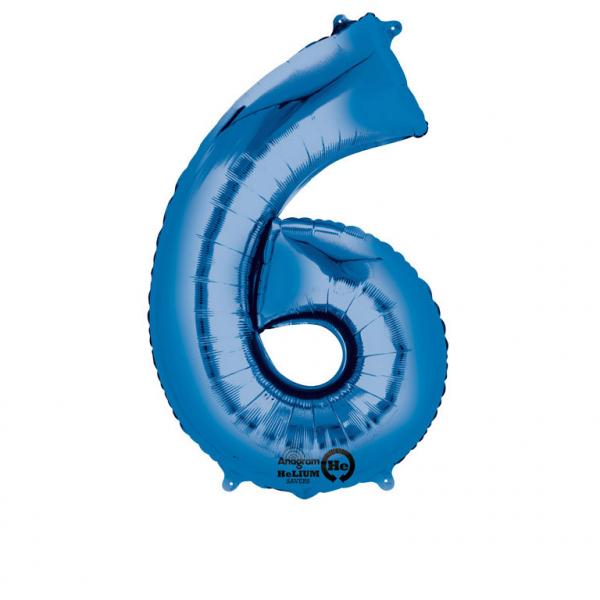 Balon folie cifra 6 albastru 66cm [0]