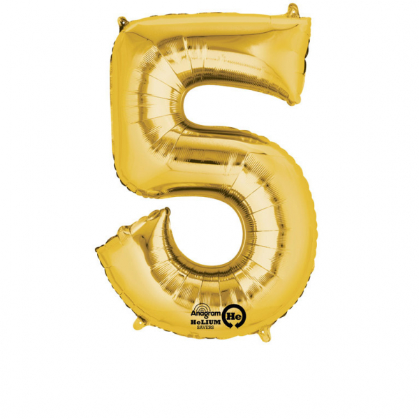 Balon folie cifra 5 auriu 87cm [0]