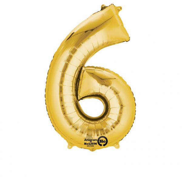 Balon folie cifra 6 auriu 87cm [0]