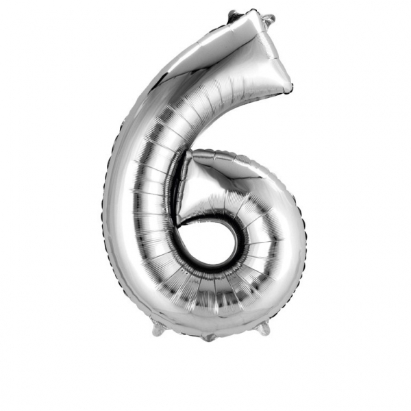 Balon folie cifra 6 argintiu 66cm 0