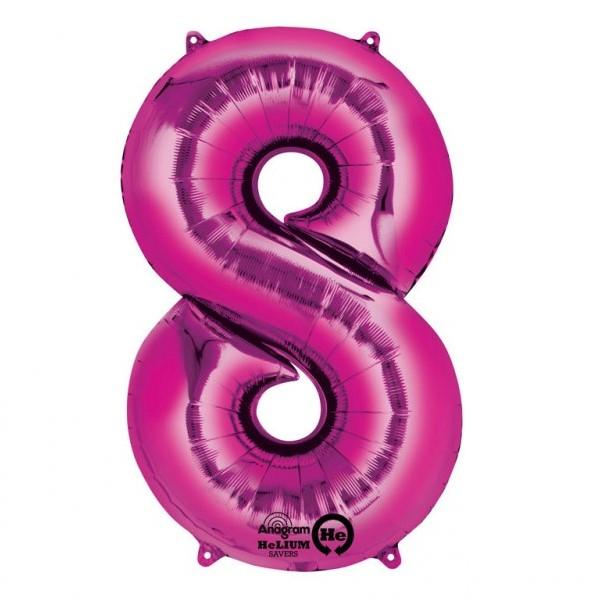 Balon folie cifra 8 roz 66cm 0